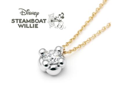 DisneyスチームボートウィリーのネックレスのPetit Pendant Necklaceプチ・ペンダント・ネックレス