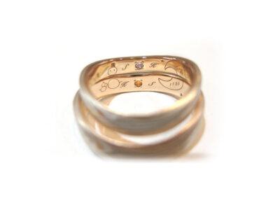 杢目金屋の結婚指輪の合わせ刻印