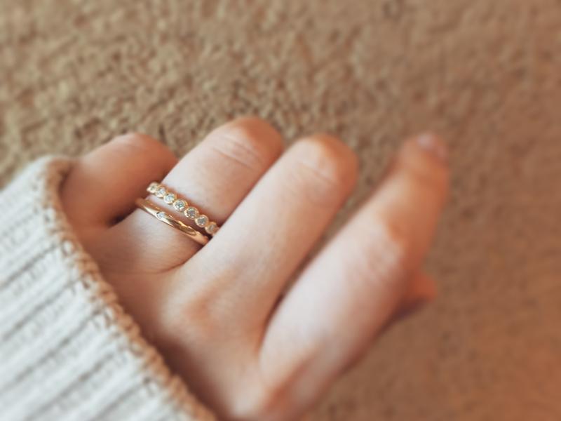 広島県広島広島市福山福山市のVANillAヴァニラのYUKAHOJOユカホウジョウの婚約指輪と結婚指輪の重ねづけセットリング
