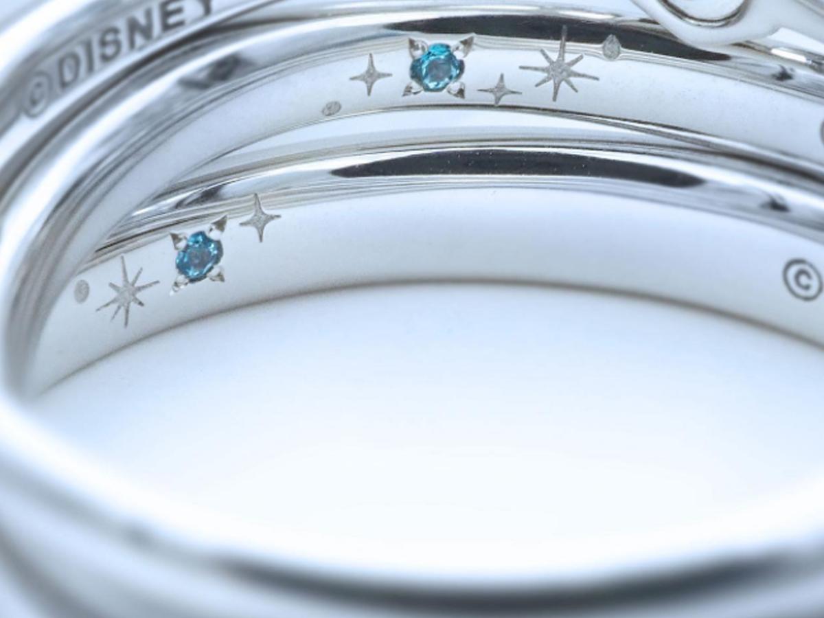 Disney Cinderella2022結婚指輪の内側に青いブルートパーズをセッティング